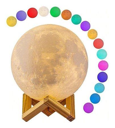 Luminária Lua Abajur LED RGB Colorida com Entrada USB