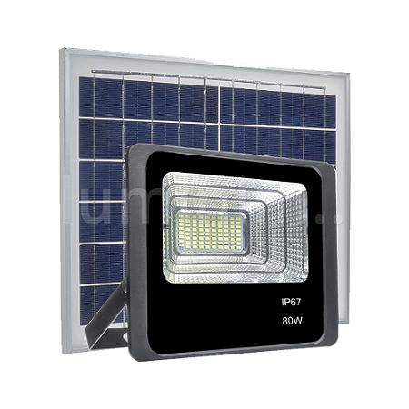 Refletor LED Solar 80w 49 Leds Auto Recarregável