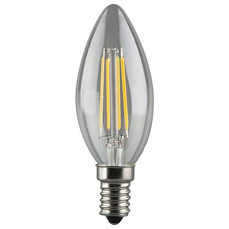 Lâmpada LED Vela Filamento Cristal E14 4W Bivolt Branco Frio | Inmetro