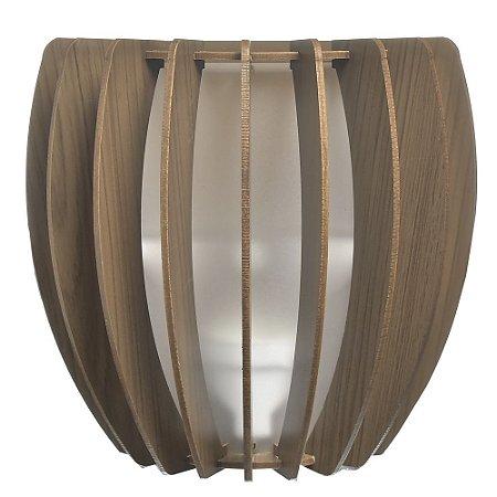 Luminária Arandela LED 40W Bojo Madeira Ipê
