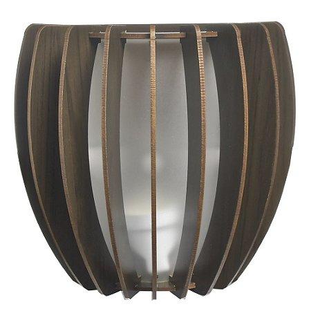 Luminária Arandela LED 40W Bojo Madeira Mogno