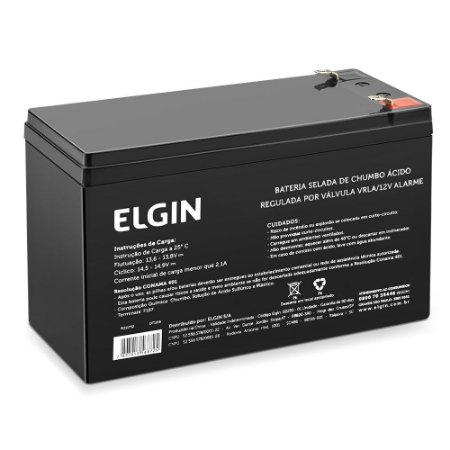 Bateria Selada 12V 7A P/ Alarmes e Cercas eletricas Elgin