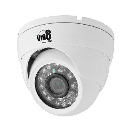 Câmera dome 25m 1080p infra 3,6mm plástica vid8