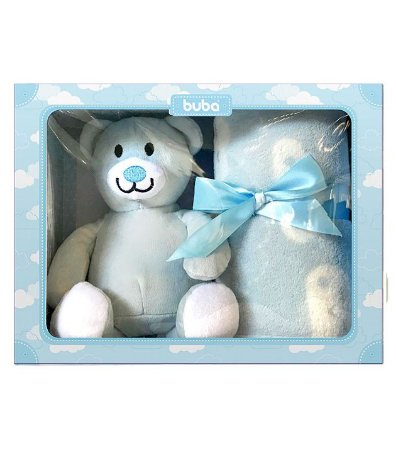 Gift Manta e Ursinho de Pelúcia Azul - Buba Baby