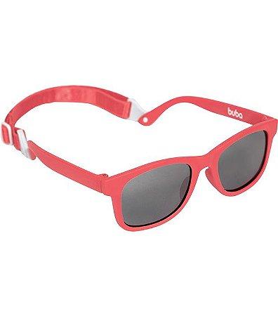 Óculos De Sol Vermelho Com Alça Ajustável - Armação Flexível - Buba Baby
