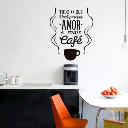 Amor e Café - Adesivo Decorativo 58 x 70 cm