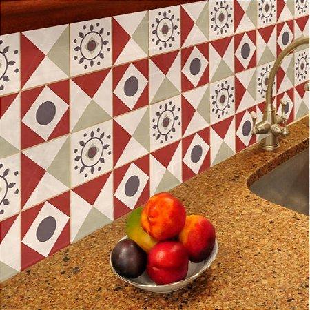 Azulejos Geométrico - Vermelho / Bege - 16 peças com 20x20cm cada