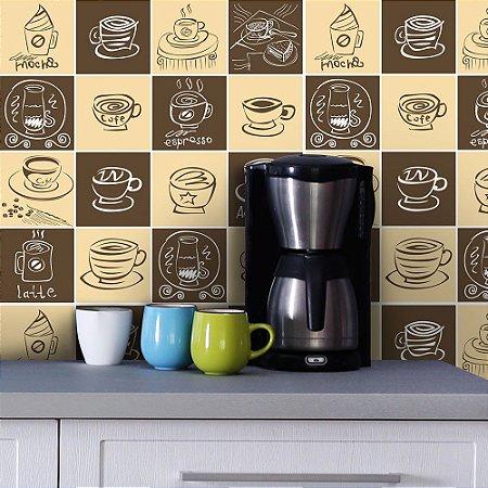 Azulejos Hidráulicos - Café - 16 peças com 20x20cm cada