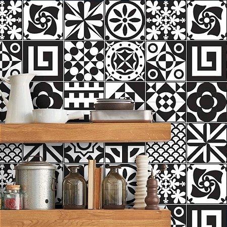 Azulejos Hidráulicos - Monocromático - 16 peças de 20x20cm cada