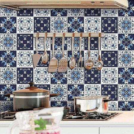 Azulejos Hidráulicos - Tons de Azul - 16 peças com 20x20cm cada