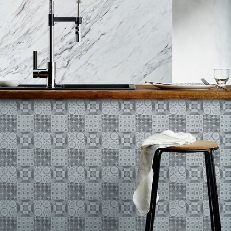 Azulejos Hidráulicos - Tons de Cinza - 16 peças com 20x20 cm cada