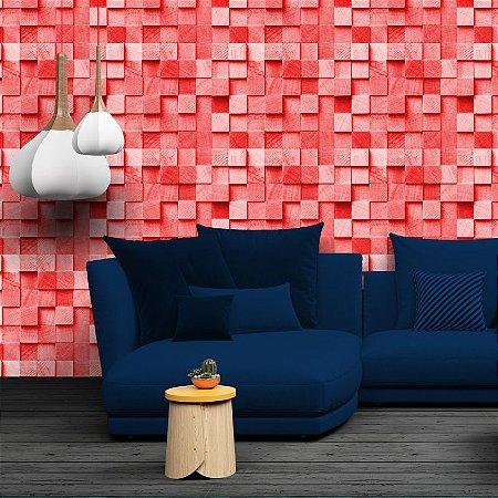 Blocos 3D vermelho - Papel de Parede