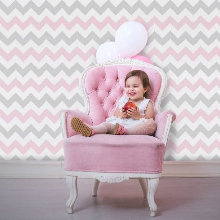Chevron Branco Rosa e Cinza - Papel de Parede infantil