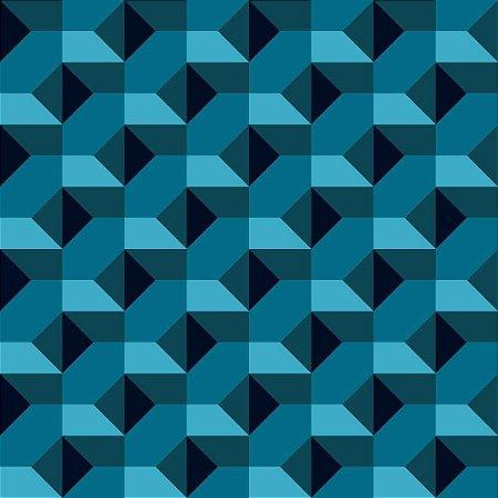 Geométrico 3D Azul - Papel de Parede