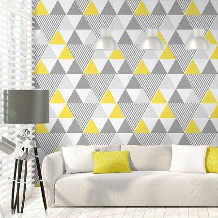 Geométrico Amarelo e Cinza - Papel de Parede