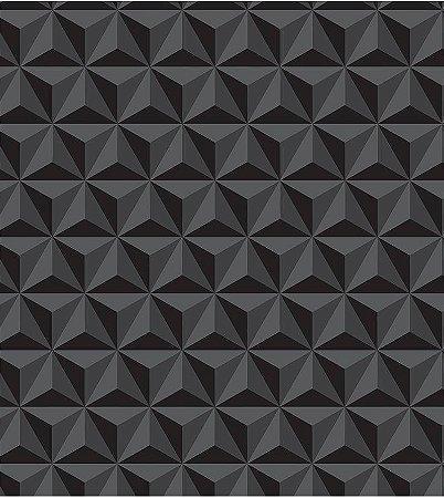 Geométrico Preto 3D - Papel de Parede /