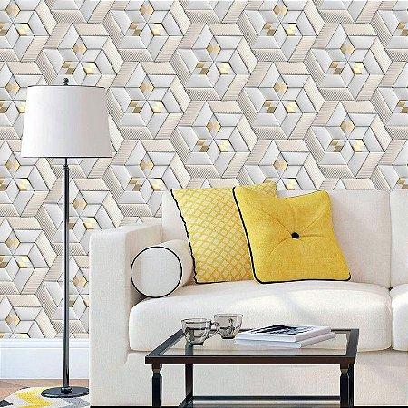 Geométrico Cinza e Dourado - Papel de Parede