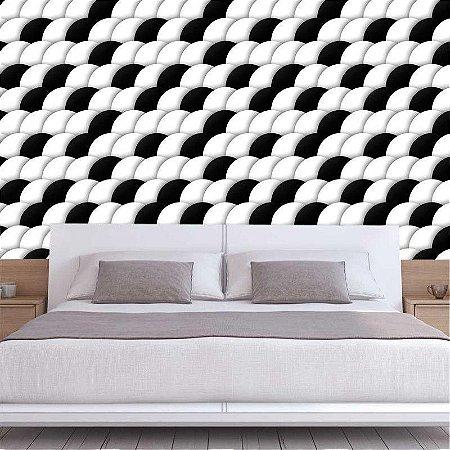 Círculos Geométricos Preto e Branco - Papel de Parede