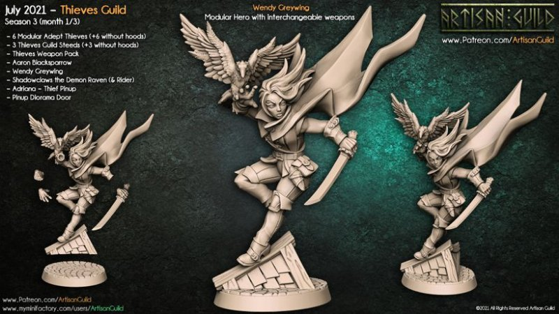 Wendy Greywing - Guilda dos Ladrões - Miniatura Artisan Guild