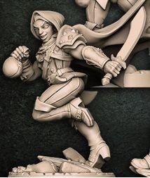 """Adepto """"D"""" com capuz - Guilda dos Ladrões - Miniatura Artisan Guild"""
