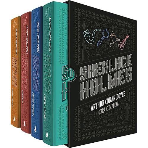 LIVRO - BOX - SHERLOCK HOLMES - 04 Volumes - BOX DE LUXO OBRA COMPLETA - CAPA DURA
