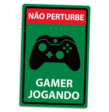 PLACA DECORATIVA - GAMER JOGANDO - X-BOX