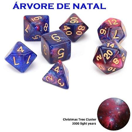 CONJUNTO DE DADOS ESPECIAIS DE RPG (NEBULOSA) d4,d6,d8,d10x2,d12 e d20