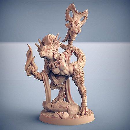 "Coaxoch - ""menos réptil"" (Pin Up)- Lagartos da Mandíbula Dourada - Miniatura Artisan Guild"