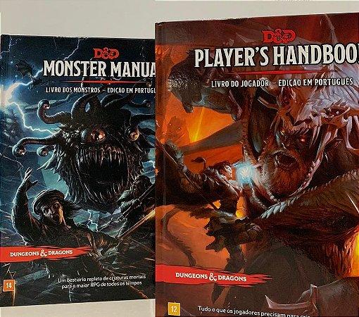 KIT DUNGEONS AND DRAGONS 5ª Ed (em português) - JOGADOR e MONSTROS + Escudo do Mestre + Dados de RPG