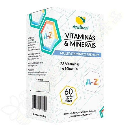 Multivitamínico AZ Vitaminas e Minerais 750mg Softgel c/60 - Apis Brasil