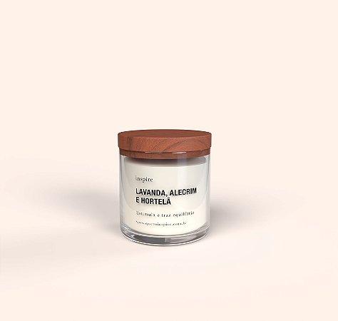 Vela Perfumada de Lavanda, Alecrim e Hortelã (Pote com tampa de madeira G)