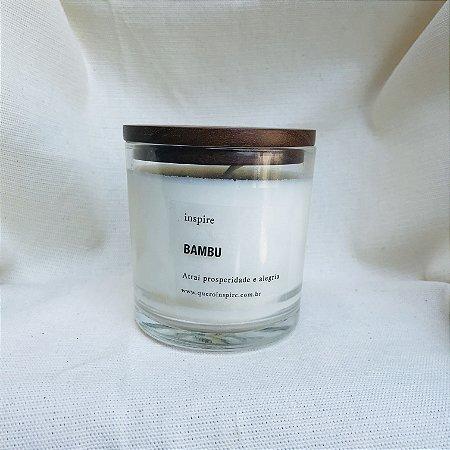 Vela perfumada de Bambu pote tampa de madeira