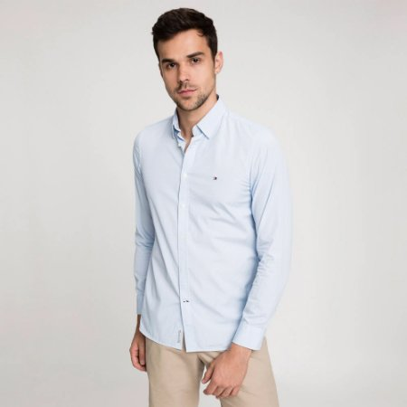 Camisa Tommy Slim Geo Print Azul Claro