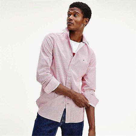 Camisa Tommy Slim Geo Print Vermelho
