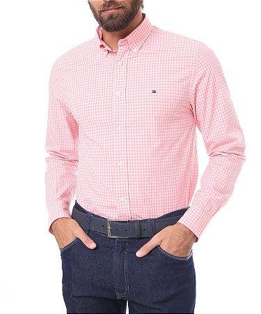 Camisa Tommy Regular Xadrez Rosa/Branco