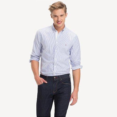 Camisa Tommy Slim Listrada Azul/Branco