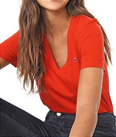 Camiseta Lacoste Feminina Gola V Coral