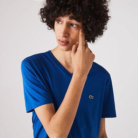 Camiseta Lacoste Regular Gola V Azul Royal