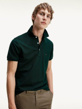 Polo Tommy Hilfiger Regular Fit Verde Escuro