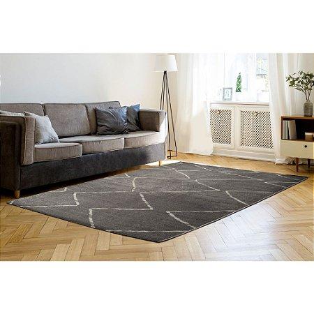 Tapete Sala / Quarto / Sanford 05 / Cinza Super Resistente e Macio - Edantex