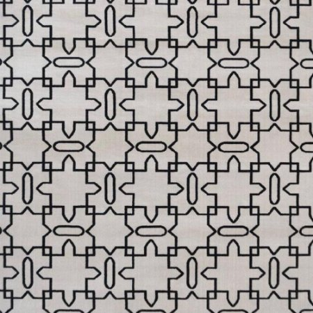 Tapete Sala / Quarto / Simetria 20 Offwhite Preto Resistente e Confortável - Zinihome