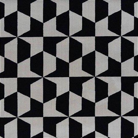 Tapete Sala / Quarto / Simetria 30 Offwhite Preto Resistente e Confortável