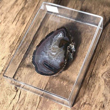 Caixa de Parede Acrílico Com Pedra Ágata