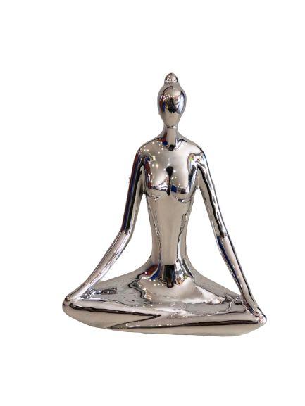 Escultura Yoga Prata 12169 -20cm