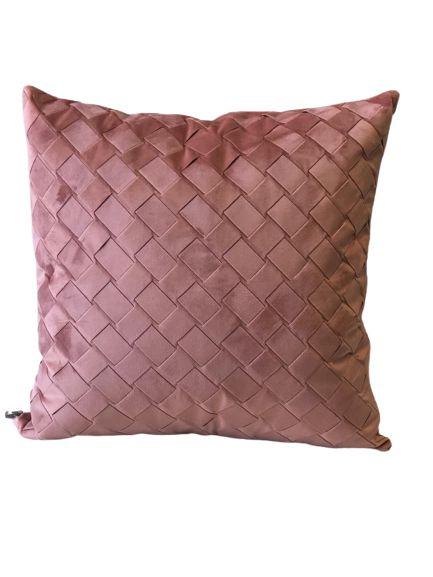 Almofada Trançada Rosa   52 x 52