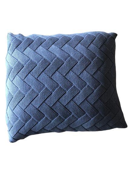 Almofada de Tricô Azul Trançada  | 52x52