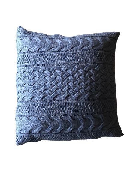 Almofada de Tricô Azul  Detalhada     52x52