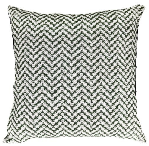 Almofada Crochê Tramado Verde e Branco  019-20  | 52x52
