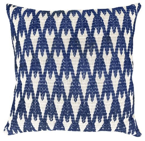 Almofada Crochê Tramado Azul e Branco  019-22    52x52