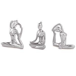 Escultura Yoga Prata Em Porcelana - 3 Peças